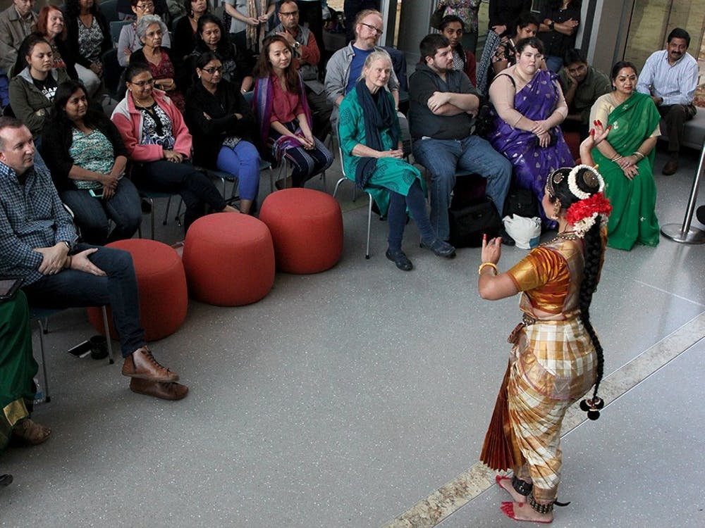 Tayna Saxena's dance in the Global and International Studies Building on Tuesday included complex hand motions and foot work. Traditionally, Bharatanatyam performances tells stories from Hindu texts.