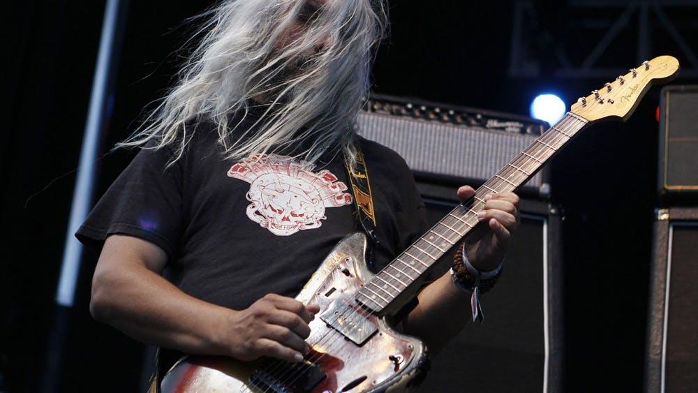Guitarist J Mascis of Dinosaur Jr. performs during LouFest in St. Louis, Missouri on Saturday, Aug. 25, 2012.