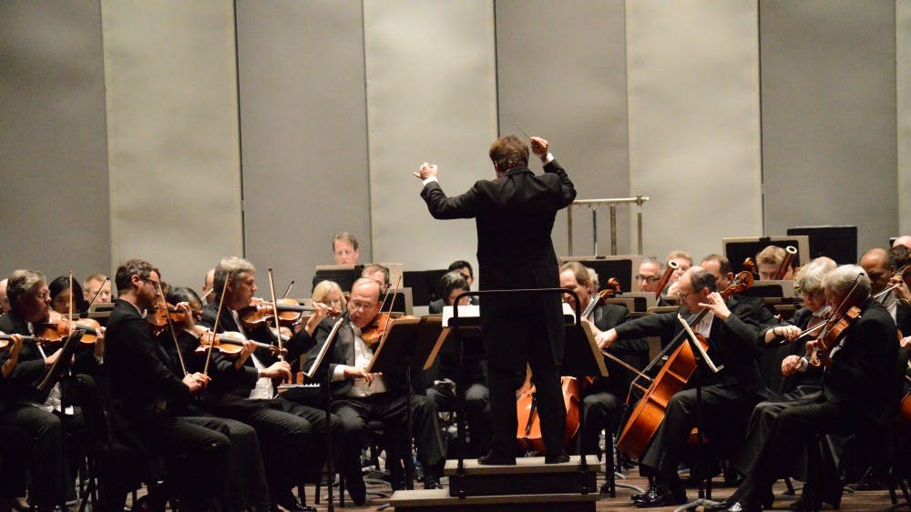Members of the Cleveland Orchestra perform during their concert in 2015 at the IU Auditorium. The orchestra will perform Mahler's Symphony No. 2 at 8 p.m. Jan. 23 at the IU Auditorium.