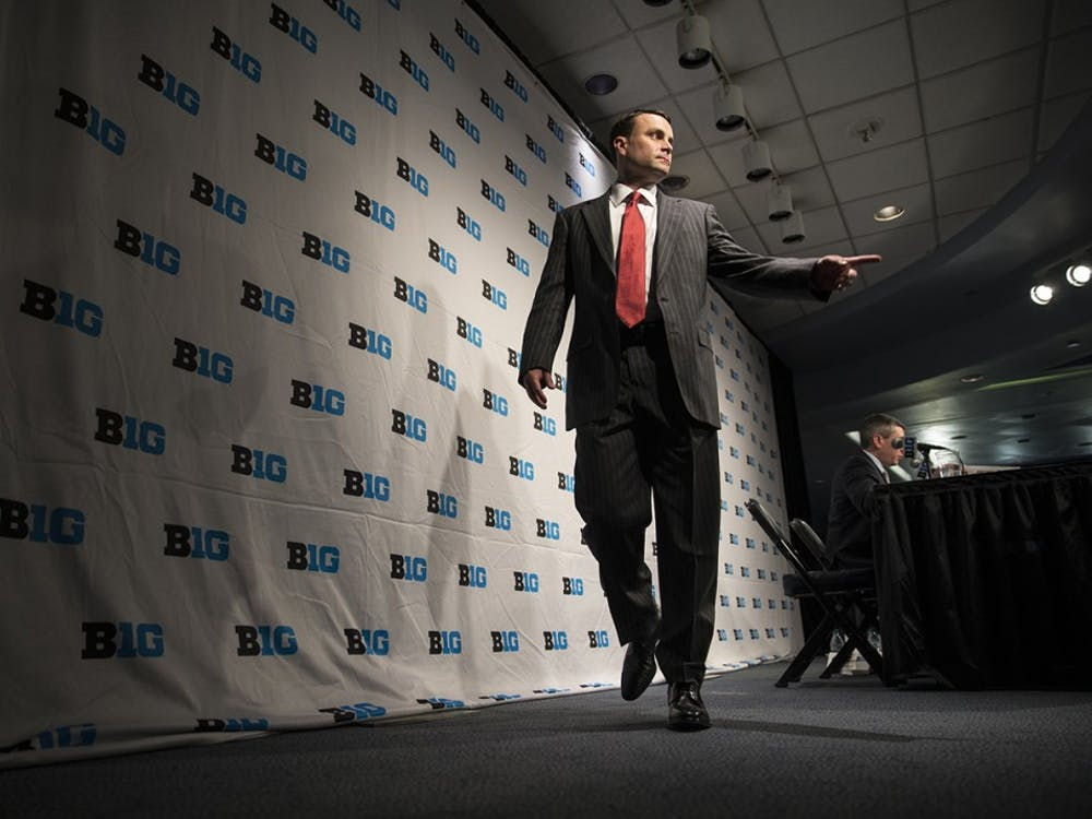 Head Coach Archie Miller walks off stage after a press conference during Big Ten Media day at Madison Square Garden on Thursday.