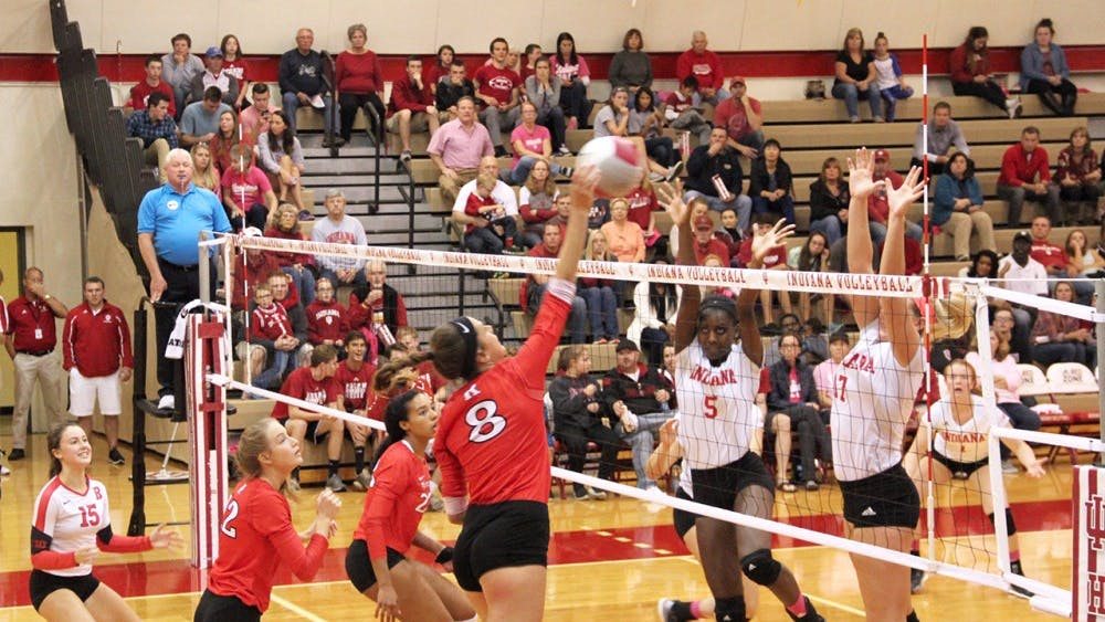 Cole Trimble, the Rutgers right-side-hitter, defends the ball as her team competes against IU Hoosiers Friday at the University Gym.