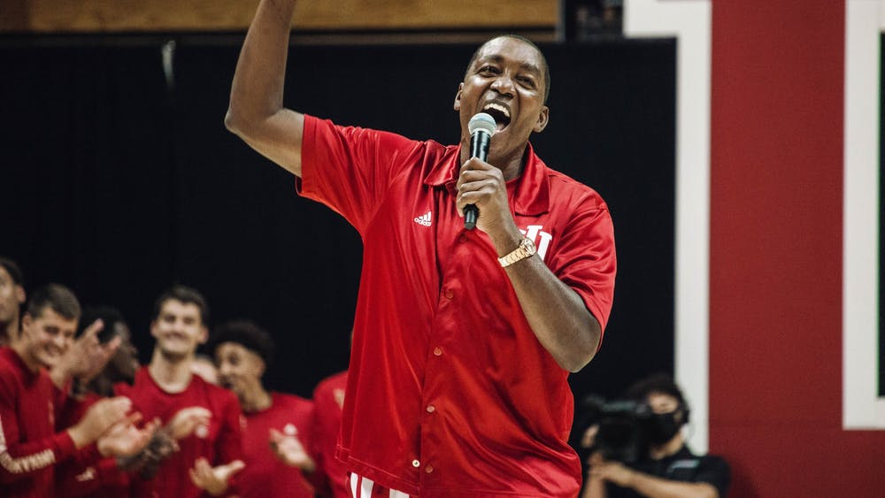 Former Indiana men's basketball player Isiah Thomas speaks to the crowd during Hoosier Hysteria Oct. 2, 2021, at Simon Skjodt Assembly Hall. Thomas was a part of IU's 1981 national championship team.