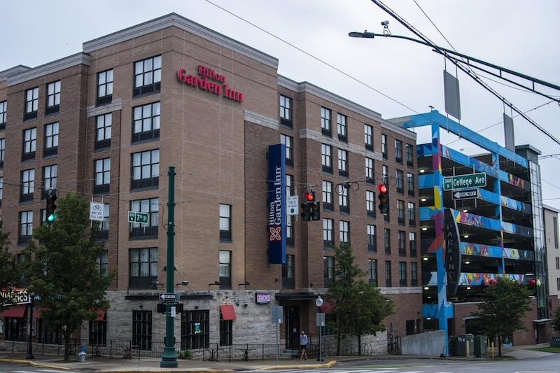 The Hilton Garden Inn is located at 245 N. College Ave. The hotel is about half a mile from campus.