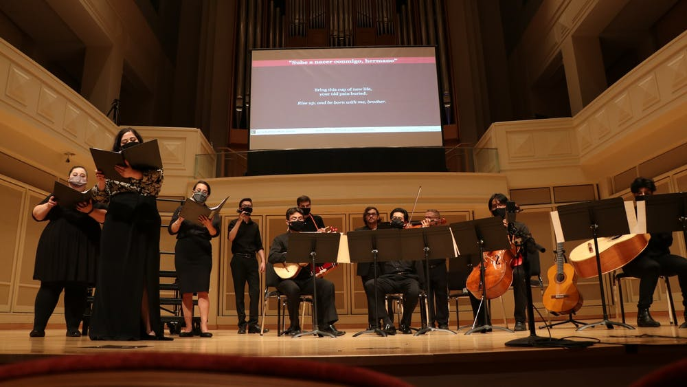 """Performers at the Latin American Music Center perform their second song """"Sube a Nacer Conmigo, Hermano"""" on Sept. 30, 2021, at Auer Hall. The performance was a part of the Salón Latino Chamber Music Series: Cantata Popular Santa María De Iquique."""