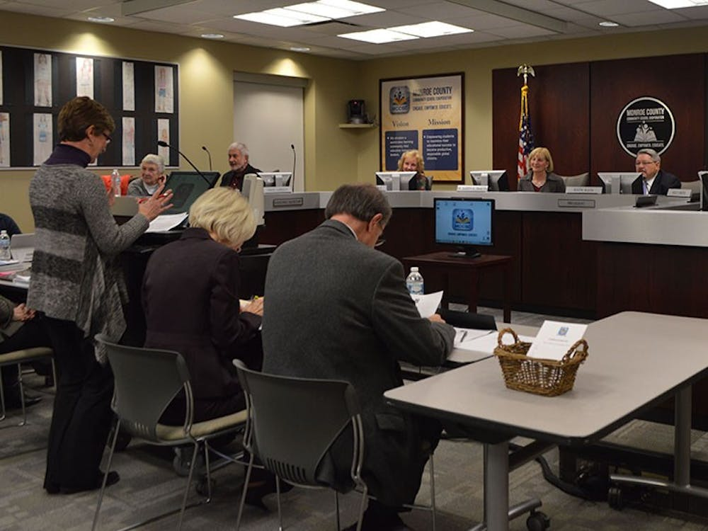 Cyrilla Helm, Executive Director of the Foundation of Monroe County Community Schools, addresses the Board of School Trustees of the Monroe County Community School Corporation on Tuesday at the MCCSC Administration Center.