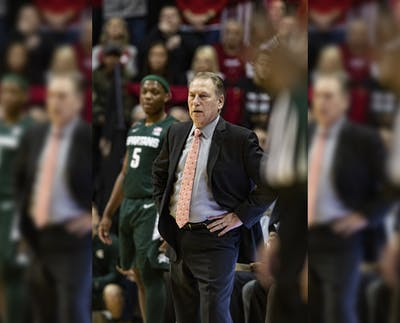 Michigan State's men's basketball head coach Tom Izzo watches his team in the first half Jan. 23 in Simon Skjodt Assembly Hall. IU defeated Michigan State 67-63.