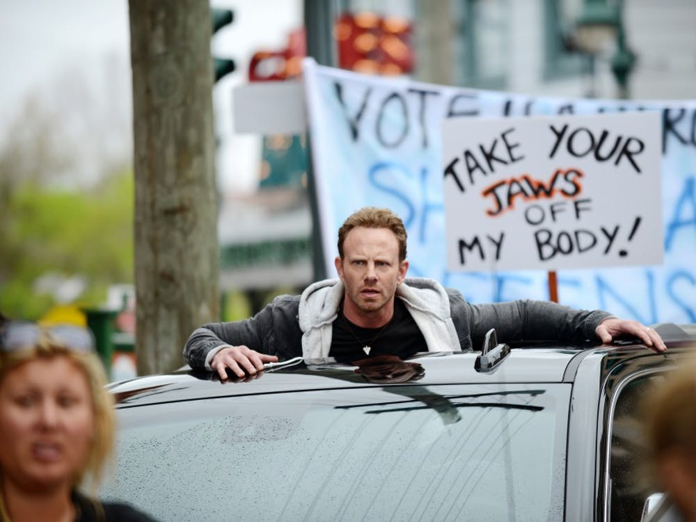SHARKNADO 3: OH HELL NO!  -- Pictured: Ian Ziering as Fin Shepard -- (Photo by: Gene Page/Syfy)