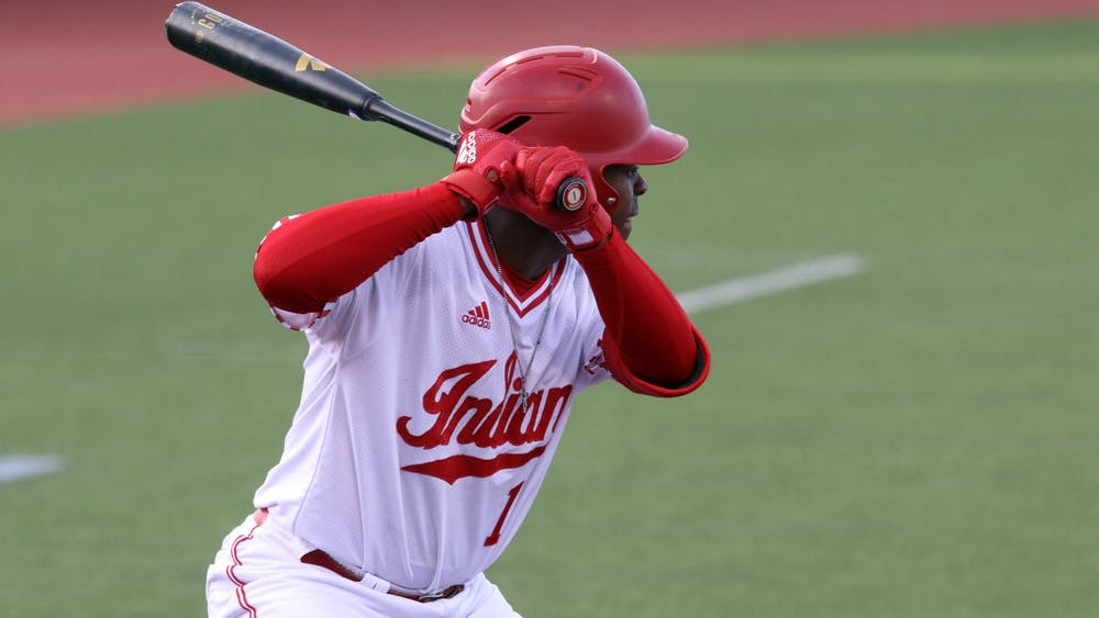 Senior Jeremy Houston prepares to bat March 4 at Bart Kaufman field. IU defeated Purdue 17-2.