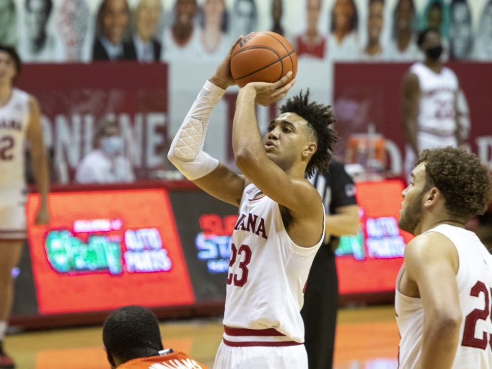 Sophomore forward Trayce Jackson-Davis shoots the ball Feb. 2 in Simon Skjodt Assembly Hall. IU lost 75-71 in overtime. Jackson-Davis announced Friday he will be returning for his junior season.