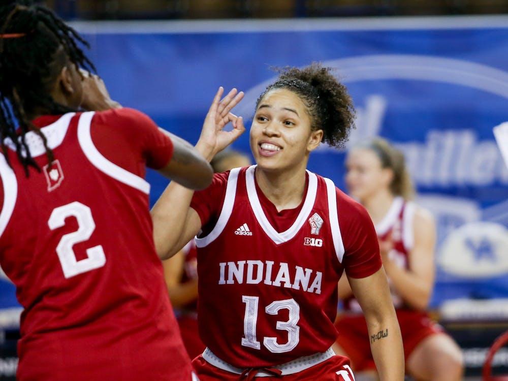 Senior Jaelynn Penn celebrates a 3-pointer with sophomore Grace Waggoner on Dec. 6, 2020, in Lexington, Kentucky. Penn announced Wednesday that she has entered the transfer portal in an Instagram post.
