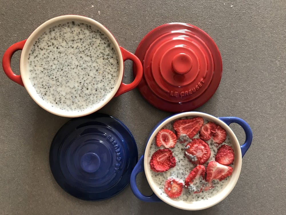 Rachel's take on coconut chia seed pudding includes an added flair of freeze-dried strawberries on top. The pudding requires at most five ingredients, and she is set for breakfast the rest of the week.