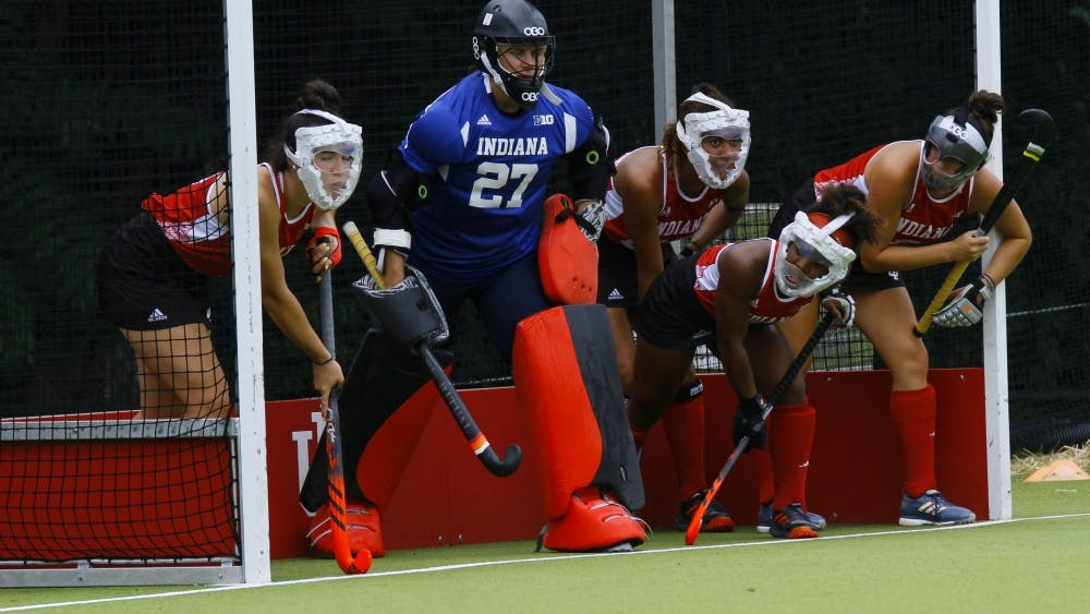 The Hoosiers protect the goal from Louisville's penalty hit Friday at the IU Field Hockey Complex. IU is 1-1 on the season with two games coming in Pennsylvania this weekend.