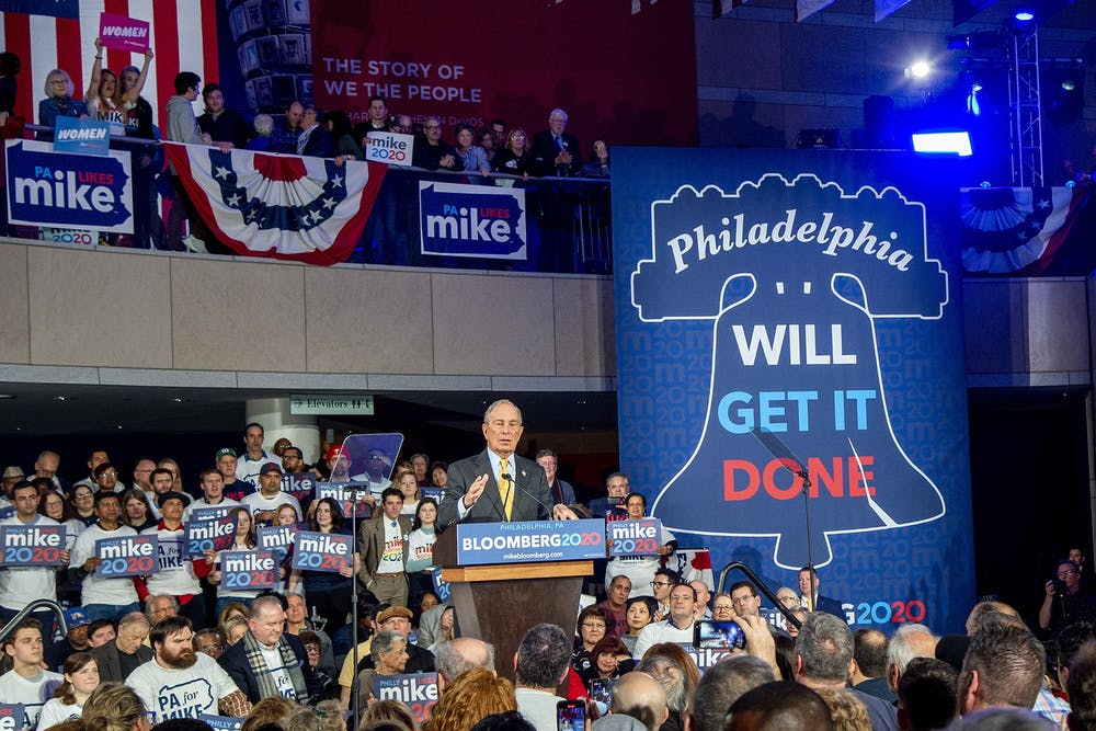 <p>Democratic presidential candidate Mike Bloomberg appears at a campaign rally Feb. 4 at the National Constitution Center in Philadelphia.</p>