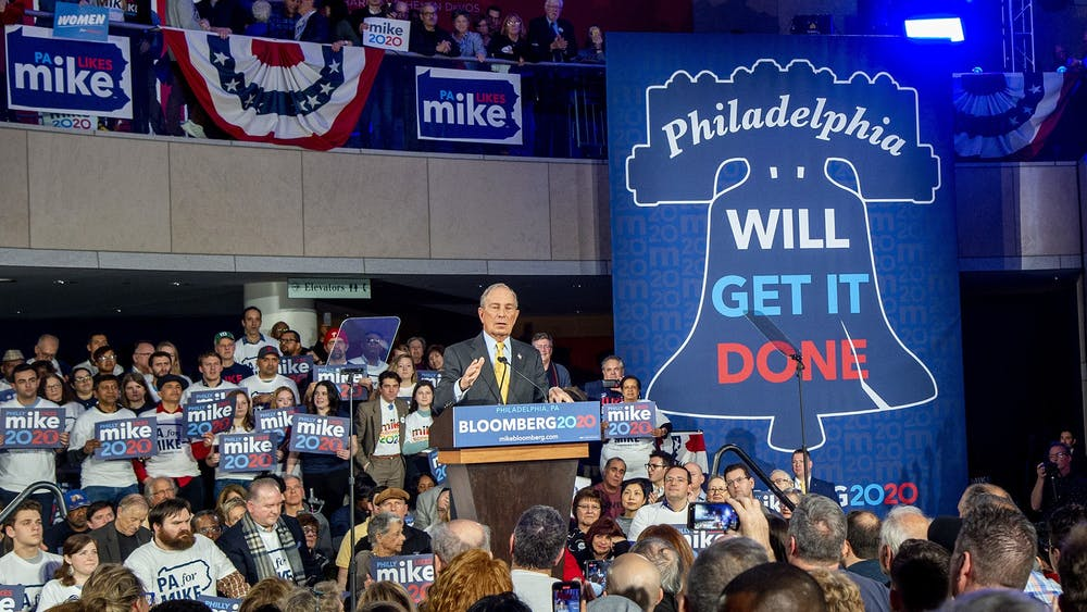 Democratic presidential candidate Mike Bloomberg appears at a campaign rally Feb. 4 at the National Constitution Center in Philadelphia.