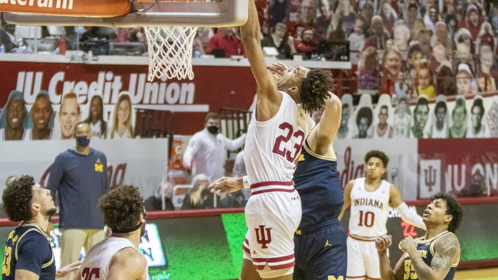 Sophomore Trayce Jackson-Davis shoots the ball Feb 27 in Simon Skjodt Assembly Hall. At halftime, IU trailed behind 33-42.