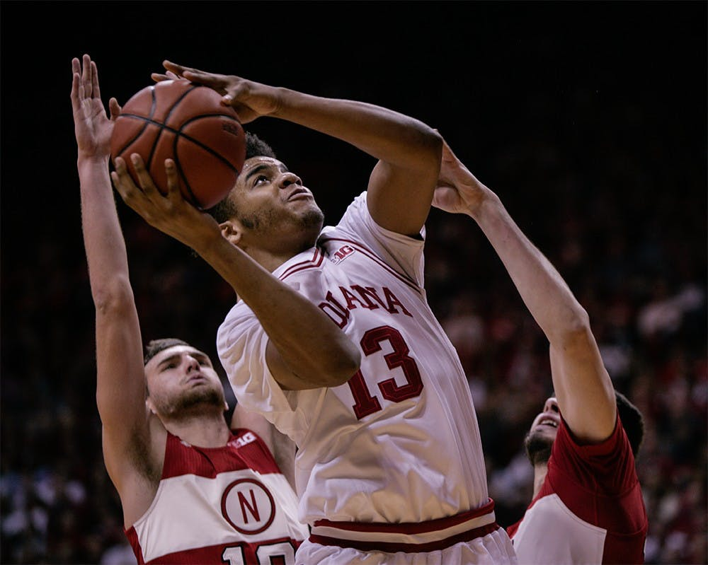 Freshman forward Juwan Morgan goes up to the basket to attempt a layup. Morgan scored 12 points for the Hoosiers, helping them beat Nebraska 80-64 Tuesday night at Assembly Hall.