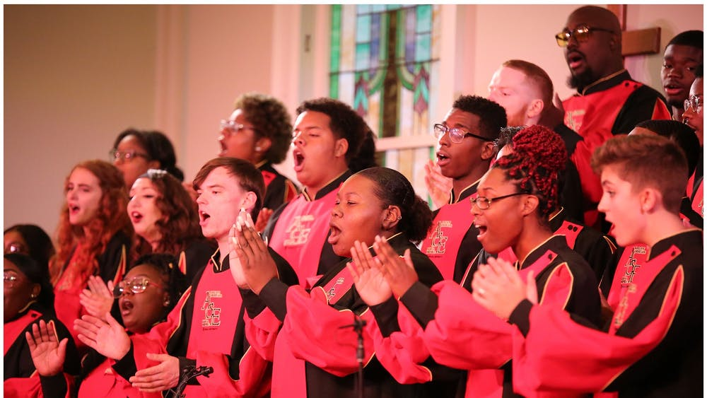 "The African American Choral Ensemble performs Oct. 19, 2019, at Second Baptist Church in Bloomington. A new concert film titled ""Amen! Music of the Black Church"" featuring the African American Choral Ensemble will premiere at 7 p.m. Sunday on local television station WTIU."
