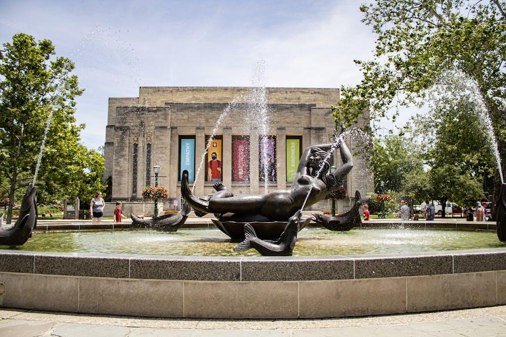 <p>Showalter Fountain on June 14. Vice President John Sejdinaj and Vice President John Whelan are leaving IU August.</p>