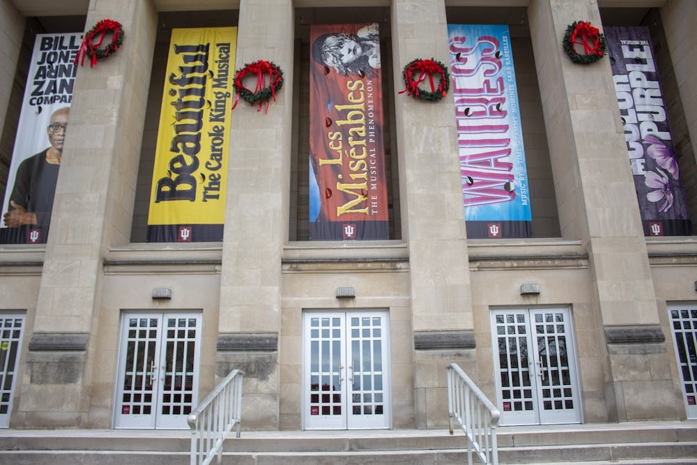 <p>Signs from the 2019-20 IU Auditorium events hang outside the building Jan. 9, 2020. The auditorium will livestream a Q&amp;A with Tony-nominated actress Cathy Rigsby on Jan. 13.</p>