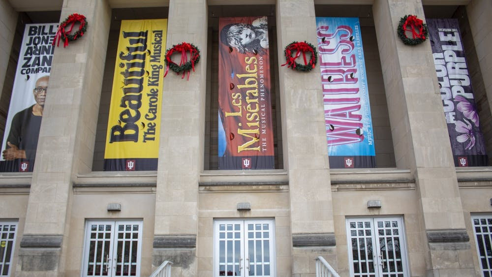 Signs from the 2019-20 IU Auditorium events hang outside the building Jan. 9, 2020. The auditorium will livestream a Q&A with Tony-nominated actress Cathy Rigsby on Jan. 13.