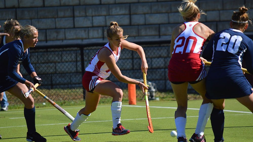 Sophomore midfielder Taylor Pearson takes a shot on goal during the game against Penn State Saturday at the IU Field Hockey Complex. The Hoosiers beat the Nittany Lions 1-0.