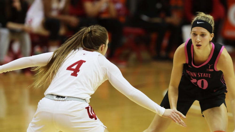 Senior guard Nicole Cardaño-Hillary guards Penn State's Makenna Marisa Wednesday in Simon Skjodt Assembly Hall during a game against the Lady Lions. Cardaño-Hillary scored 9 points in the Hoosiers 90-65 win.
