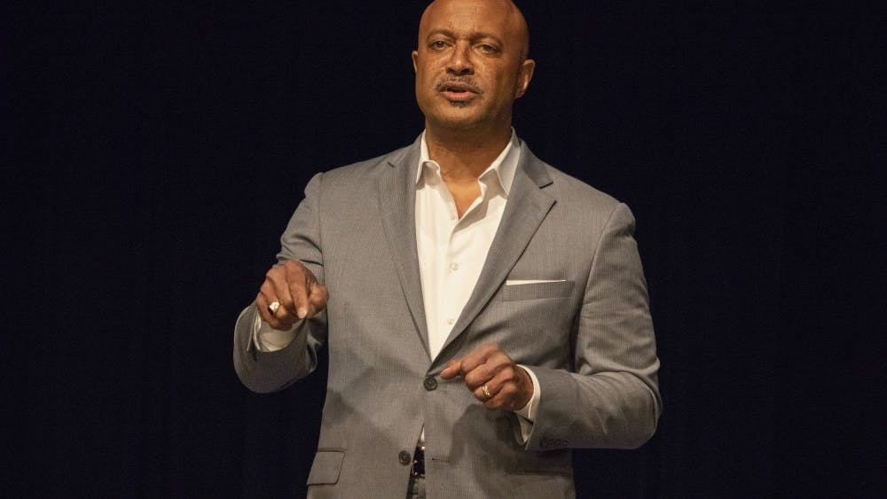"""Indiana Attorney General Curtis Hill speaks during a Grassroots Conservatives meeting May 13 in the Monroe County Public Library. """"You're here because you believe in America,"""" he said."""