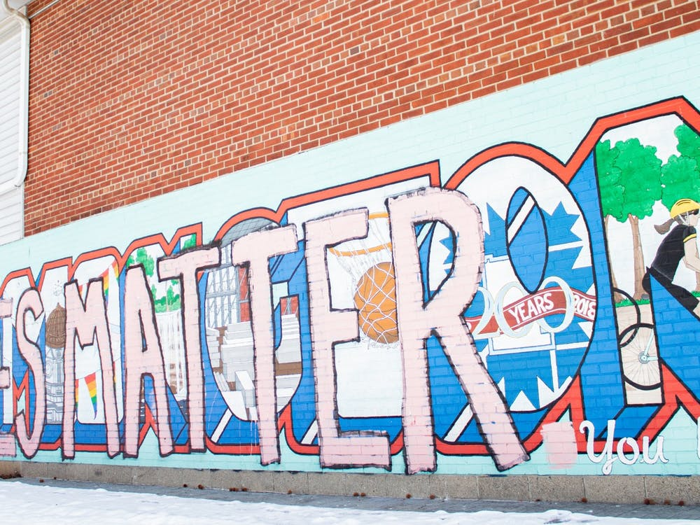 A Black Lives Matter mural is seen Feb. 14 in People's Park.