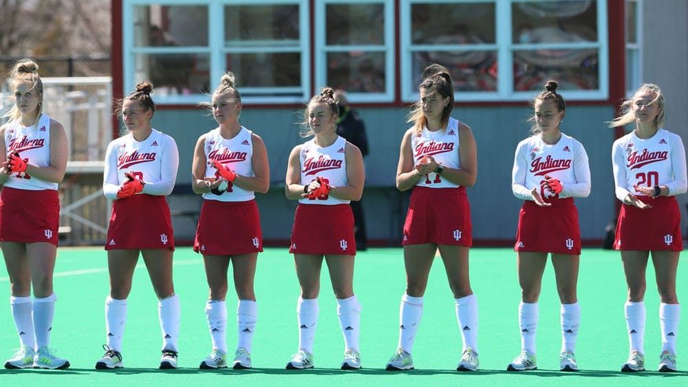 <p>Indiana field hockey players prepare to compete against Penn State on April 11, 2021. Indiana lost to the University of Louisville 1-0 Friday.</p>