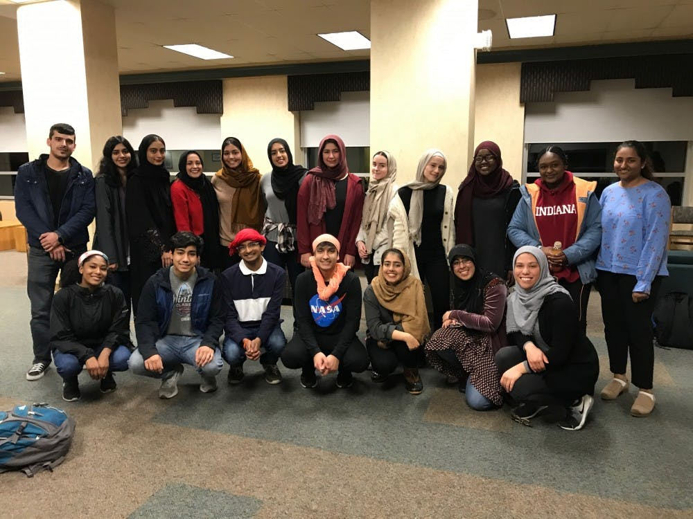Students gathered Wednesday in Teter Quad to discuss the significance of the hijab and hear women's experiences wearing or not wearing it. IU's Muslim Student Association organized the event to acknowledge World Hijab Day, which was Feb. 1.