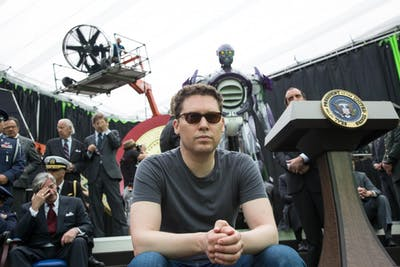 "Director Bryan Singer sits on the set of ""X-Men: Days of Future Past."""