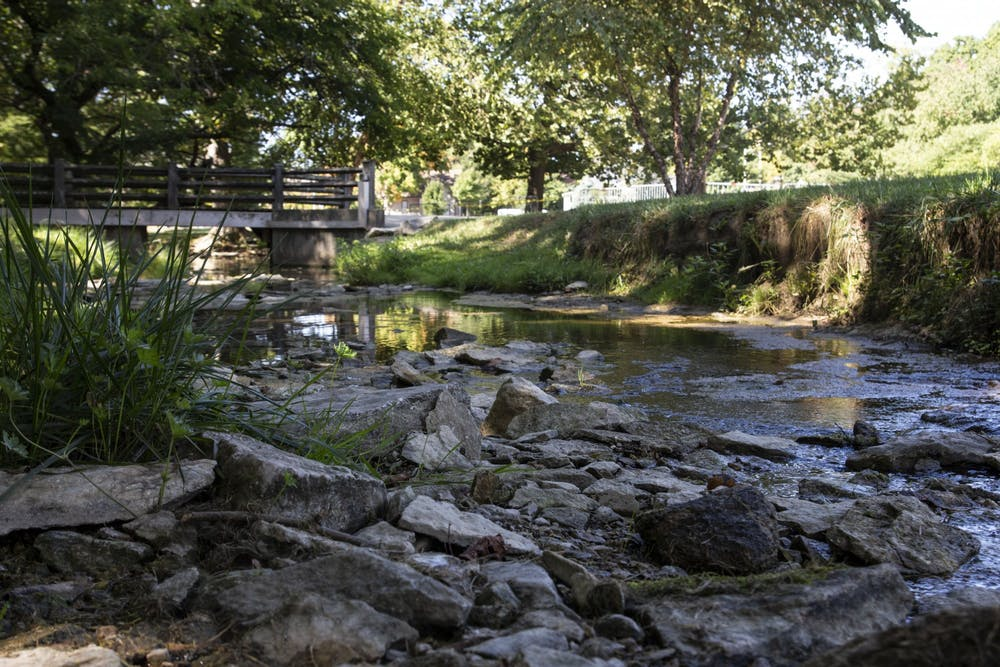 <p>Water flows between the rocks Thursday in the Jordan River. IU President Michael McRobbie will recommend that all campus landmarks named after David Starr Jordan be renamed Tuesday at the IU Board of Trustees meeting due to increased scrutiny over Jordan&#x27;s history as a eugenicist.</p>