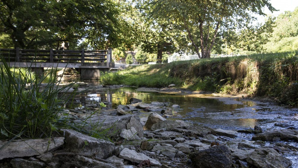 Water flows between the rocks Thursday in the Jordan River. IU President Michael McRobbie will recommend that all campus landmarks named after David Starr Jordan be renamed Tuesday at the IU Board of Trustees meeting due to increased scrutiny over Jordan's history as a eugenicist.