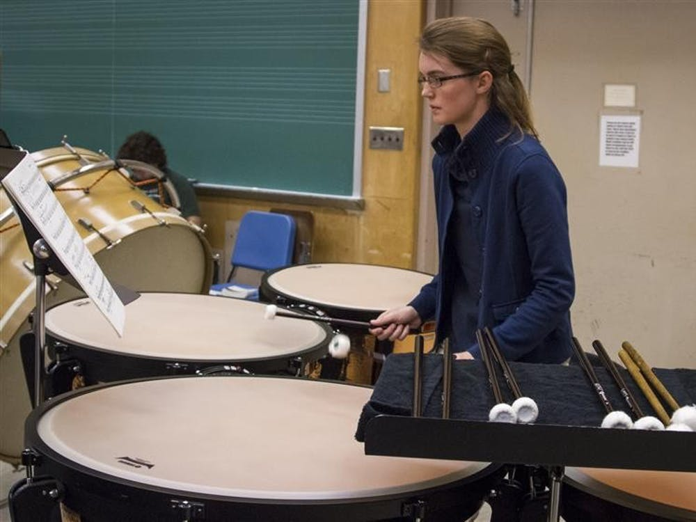 """Timpanist Emilie Mitchell practices at the Jacobs School of Music on Nov. 4, in preparation for """"The Nutcracker"""" performances Dec. 5-8."""