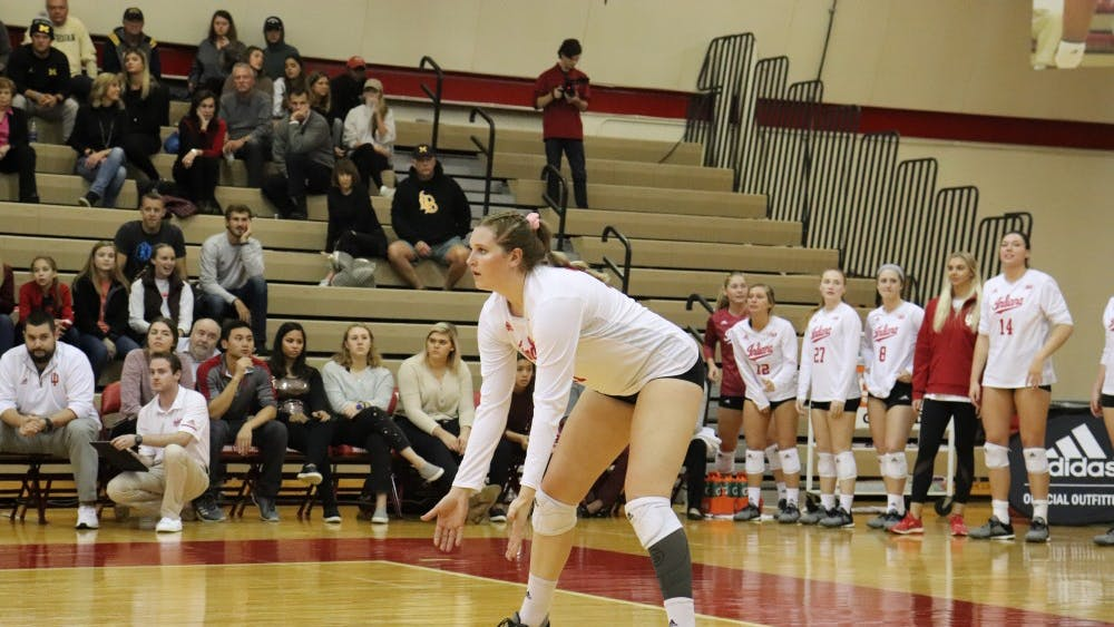 Freshman outside hitter Breana Edwards prepares to pass Oct. 31 in University Gym. IU defeated Michigan, 3-1.