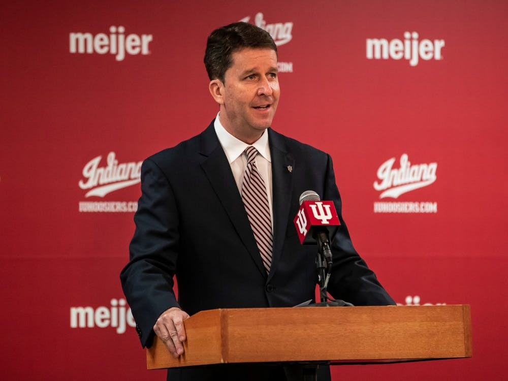 IU Athletics Director Scott Dolson at a press conference March 29 at Simon Skjodt Assembly Hall. Dolson began his tenure as IU's Athletics Director on July 1, 2020.