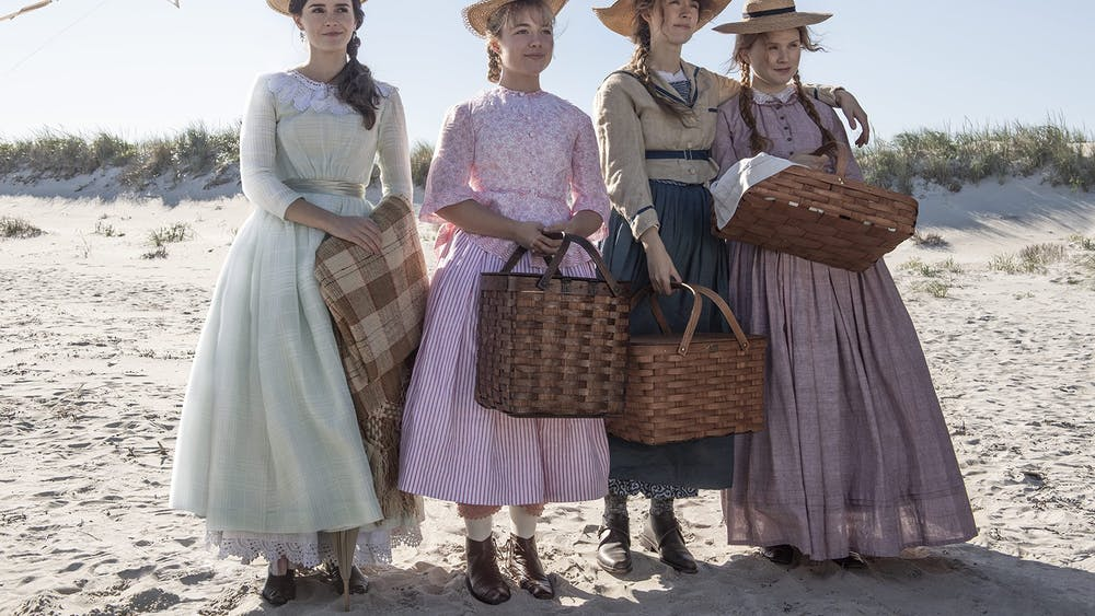 "The March sisters Meg (Emma Watson), Jo (Saoirse Ronan), Amy (Florence Pugh) and Beth (Eliza Scanlen) stand during a scene in ""The Little Women"" movie. The movie premiered in theaters Dec. 25, 2019."
