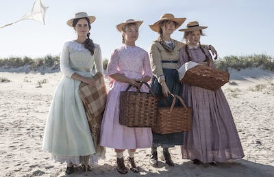 """The March sisters Meg (Emma Watson), Jo (Saoirse Ronan), Amy (Florence Pugh) and Beth (Eliza Scanlen) stand during a scene in """"The Little Women"""" movie. The movie premiered in theaters Dec. 25, 2019."""
