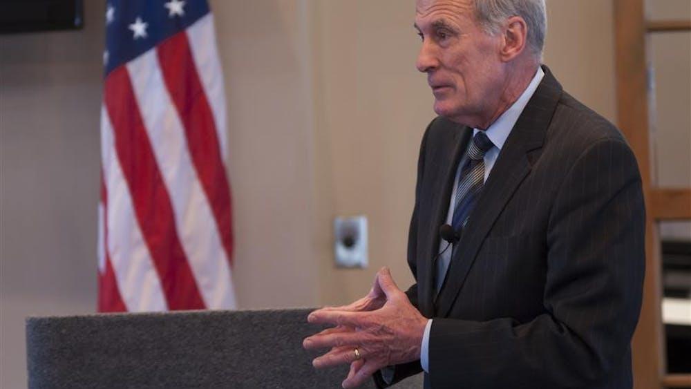 U.S. Sen. Dan Coats, R-Indiana, speaks to Bloomington buisness leaders on Wednesday at Chapman's Restaurant.