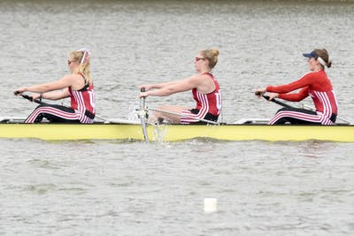 Members of IU women rowing team row during the competition. Indiana Roawing team rank 16th after the competitive spring season on Saturday at Lake Lemon with Ohio State, Michigan , Wisconsin , Iowa , Indiana and Michigan State .