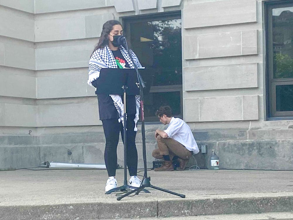 Junior Serena Dajani speaks May 22 by the Monroe County Courthouse.