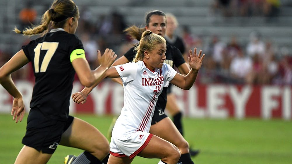 Senior midfielder Kayla Smith drives toward the Purdue goal on Sept. 23 at Bill Armstrong Stadium. Smith played her final game with IU Thursday night as the Hoosiers lost 2-1 at No. 13 Ohio State.