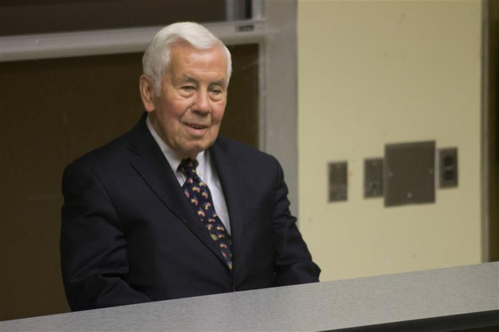 <p>Former Senator Richard Lugar speaks about nuclear weapons in 2013&nbsp;in Ballantine Hall.&nbsp;Lugar will speak at 3 p.m. Friday in GISB auditorium on the topic of nuclear weapons reduction.</p>
