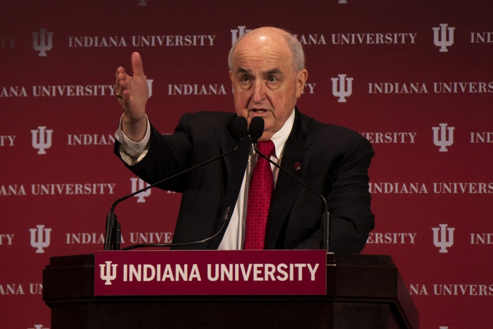 <p>IU President Michael McRobbie acknowledges an audience member at the annual State of the University address. McRobbie revealed IU is renaming one of the School of Informatics, Computing and Engineering buildings after past IU President Myles Brand.</p>