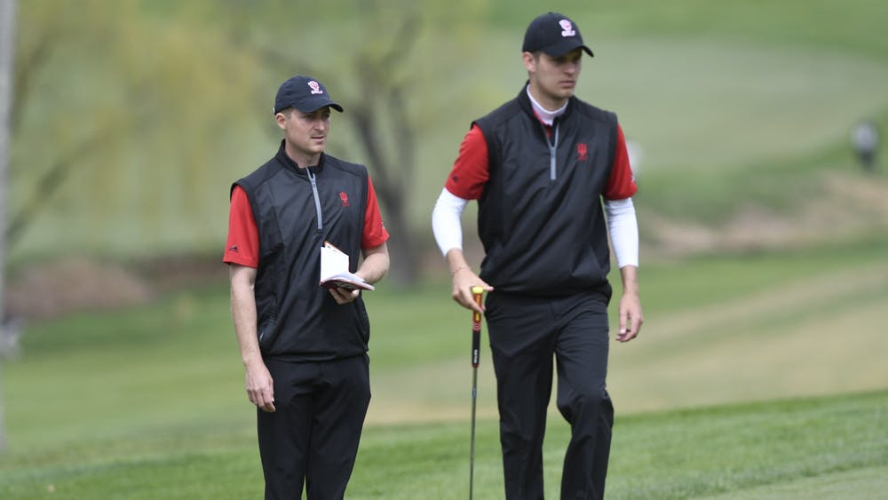 IU men's golf assistant coach Corey Ziedonis and then-junior Evan Gaesser attend the Big Ten Men's Golf Tournament on April 27, 2018, at Baltimore Country Club in Baltimore, Maryland. IU will travel Feb. 7-8 to Hammock Beach, Florida, for the Big Ten Match Play Championship.