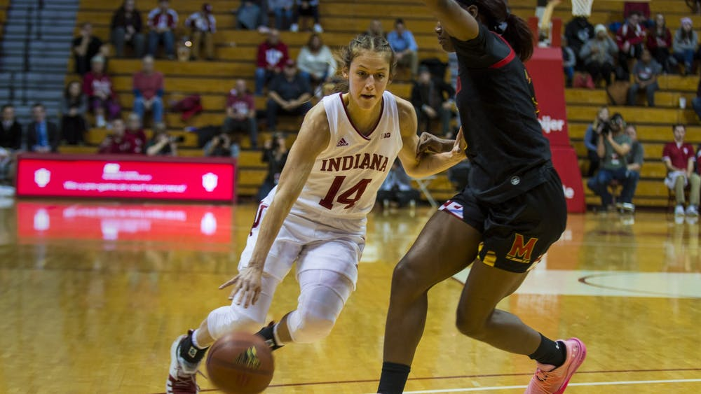 Redshirt junior Ali Patberg drives to the basket Feb. 6 at Simon Skjodt Assembly Hall. IU led Maryland at the half 38-32.