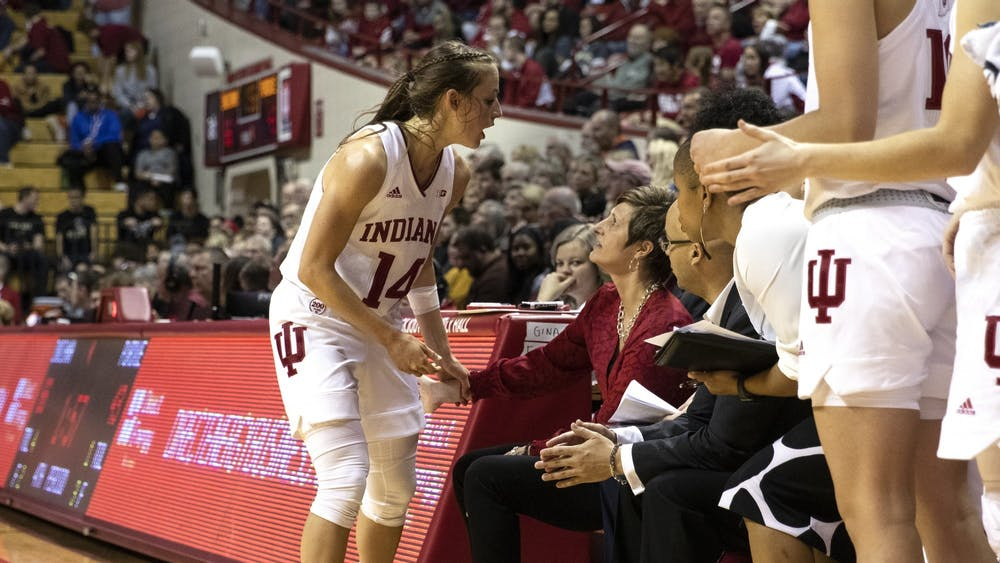 Redshirt junior Ali Patberg talks to IU women's basketball head coach Teri Moren after coming out of the game against Purdue on Jan. 9 at Simon Skjodt Assembly Hall. IU won 59-54 Feb. 13 against University of Illinois at Urbana–Champaign.