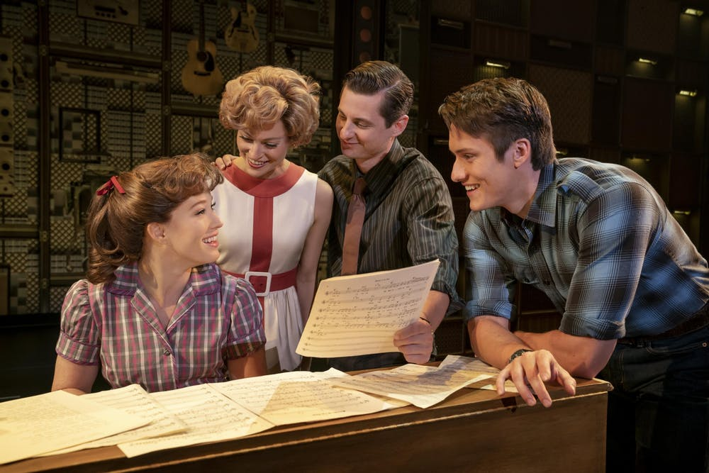 "Kennedy Caughell, Kathryn Boswell, James Michael Lambert and James Gish perform onstage in ""Beautiful — The Carole King Musical."" The IU Auditorium's survey for next year's musicals includes ""Beautiful — The Carole King Musical"" as well as ""Waitress."""
