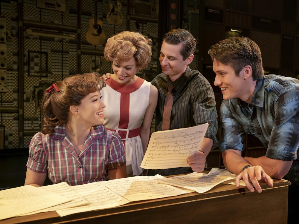 """Kennedy Caughell, Kathryn Boswell, James Michael Lambert and James Gish perform onstage in """"Beautiful — The Carole King Musical."""" The IU Auditorium's survey for next year's musicals includes """"Beautiful — The Carole King Musical"""" as well as """"Waitress."""""""
