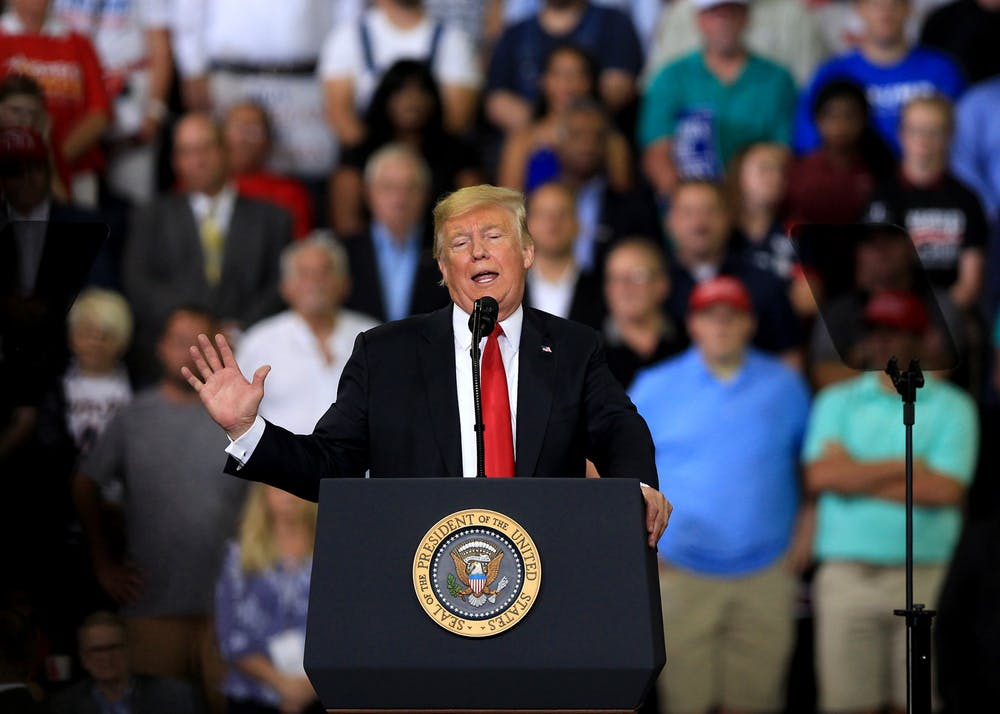 <p>President Donald Trump speaks at a rally Aug. 30, 2018, in Evansville, Indiana. The Republican National Convention concluded Thursday with Trump accepting the Republican nomination for president at the White House.</p>